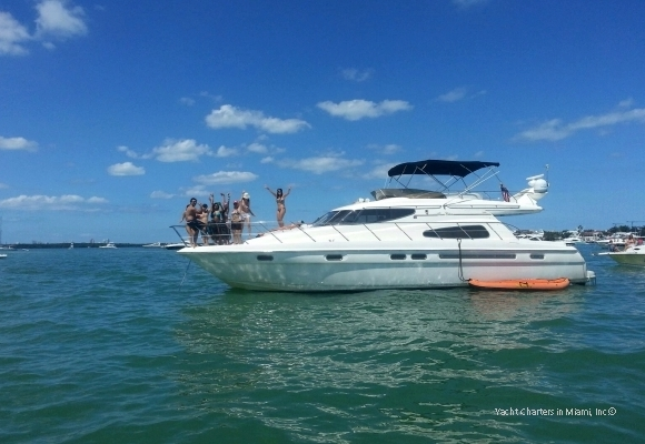 Princess Chelsea yacht rental in Miami at sandbar