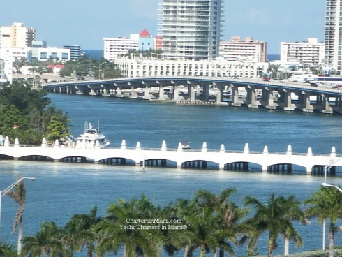 Iconic Venetian Bridge view from yacht charter in Miami