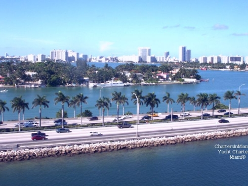 View of Miami from cruise ship channel