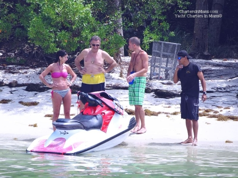 Family Charter a Yacht in Miami and Jet Ski to Monument Island