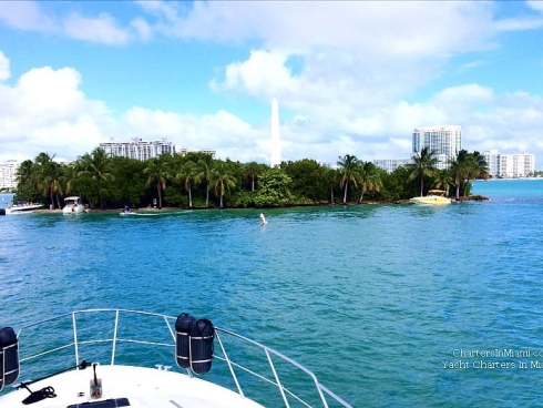 Monument Island by yacht rental in Miami
